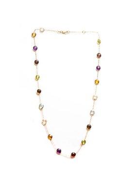 Multi-Gemstone Station Necklace in 14 Karat Yellow Gold (13 Carat)