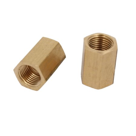 1/8BSP Female Thread Brass Pipe Fitting Straight Hex Rod Coupling Nut 2pcs