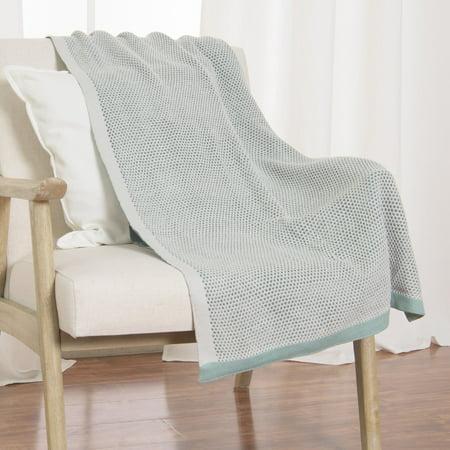 Aurora Home  Woven Honeycomb Throw & Braid Pattern Knit Tassel Throw