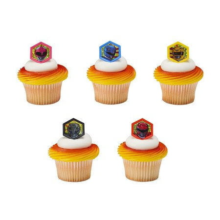 24 Power Rangers Morphinominal Cupcake Cake Rings Birthday Party Favors Toppers - Power Ranger Cakes