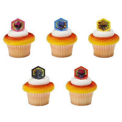 24 Power Rangers Morphinominal Cupcake Cake Rings Birthday Party Favors Toppers
