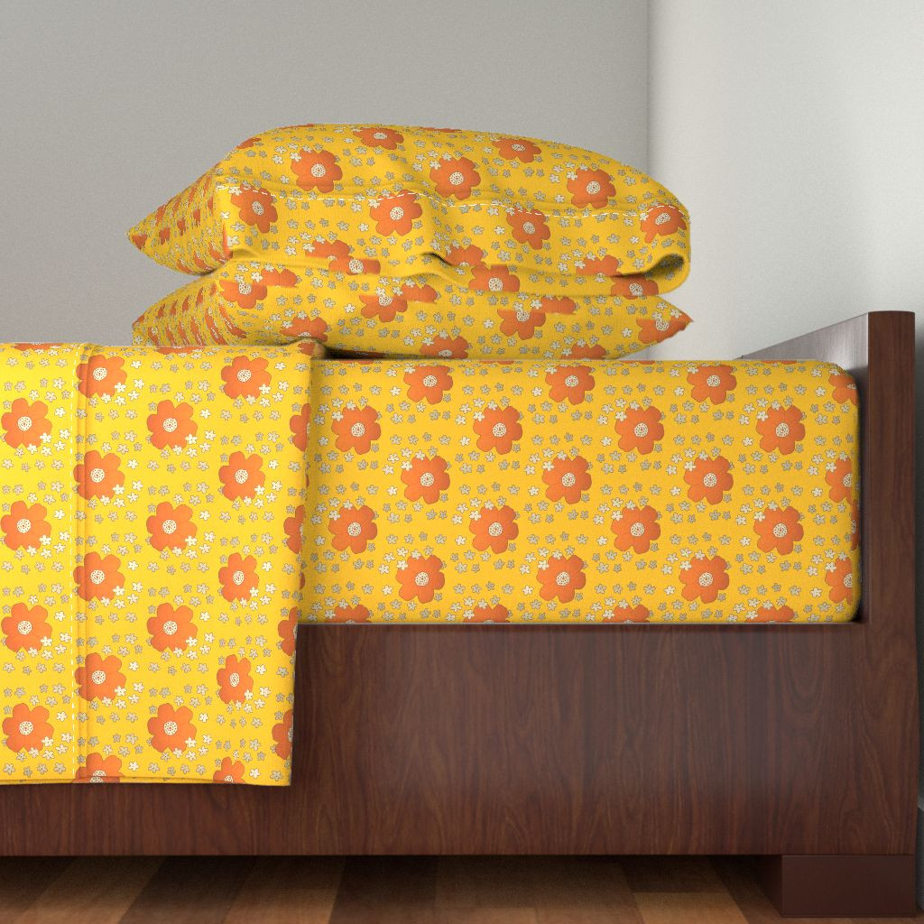 Floral Snork Flowers Retro Yellow 100% Cotton Sateen Sheet Set by Roostery