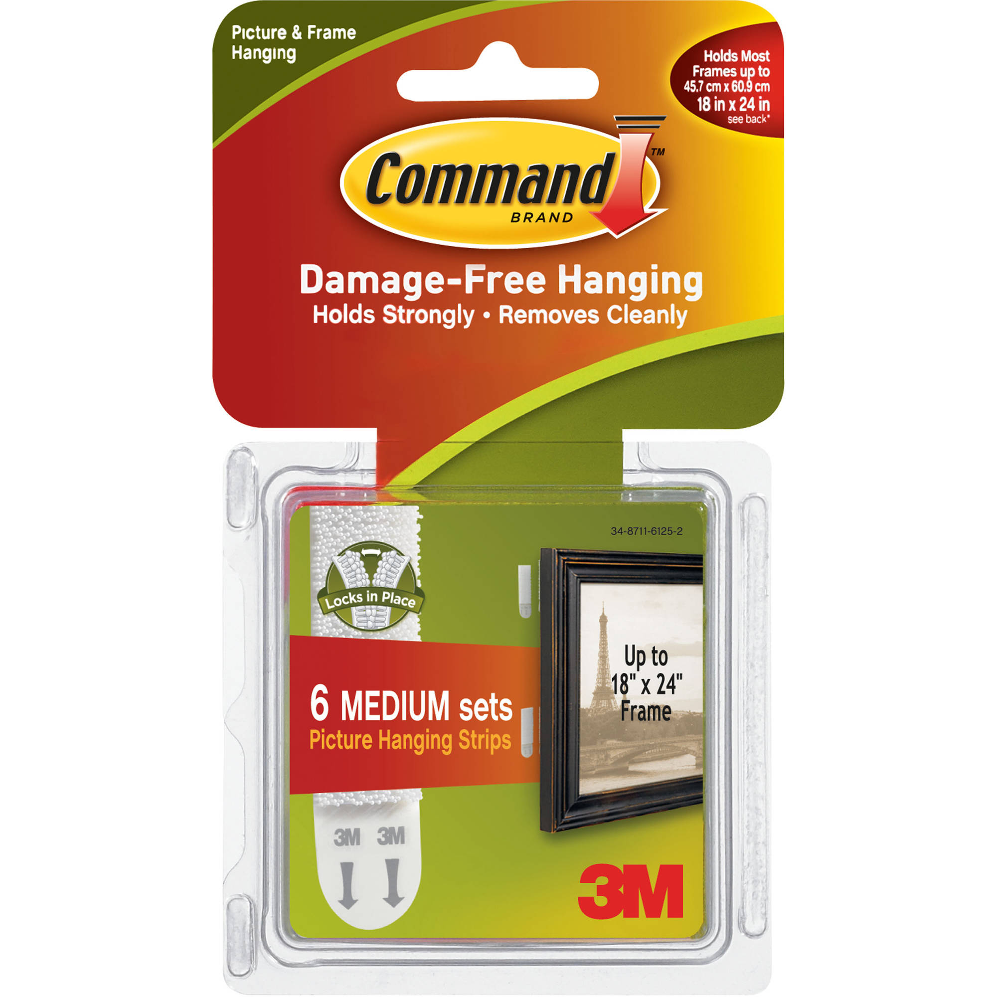 Command Medium Picture Hanging Strips: Bulk  Pack, Incl. 6 Sets of Medium Strips, 17204