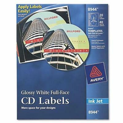 Avery Inkjet Full-Face CD Labels, Glossy White, 20/Pack (AVE8944)