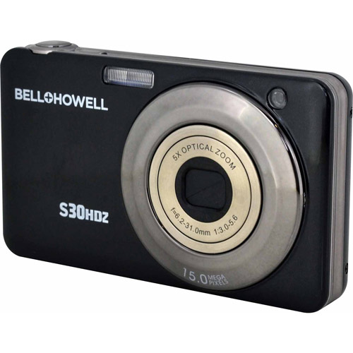 BELL+HOWELL S30HDZ-BK 15.0 Megapixel S30HDZ Slim Digital Camera with 5x Optical Zoom (Black)