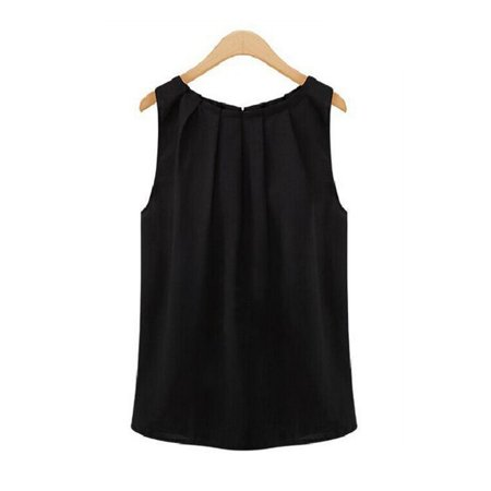 Women Black Summer Sleeveless Tropical Tops Shirt Chiffon Solid Pleated Tops T-Shirt for Women Teen Girls Juniors S-XL - Tropical Shirts Womens