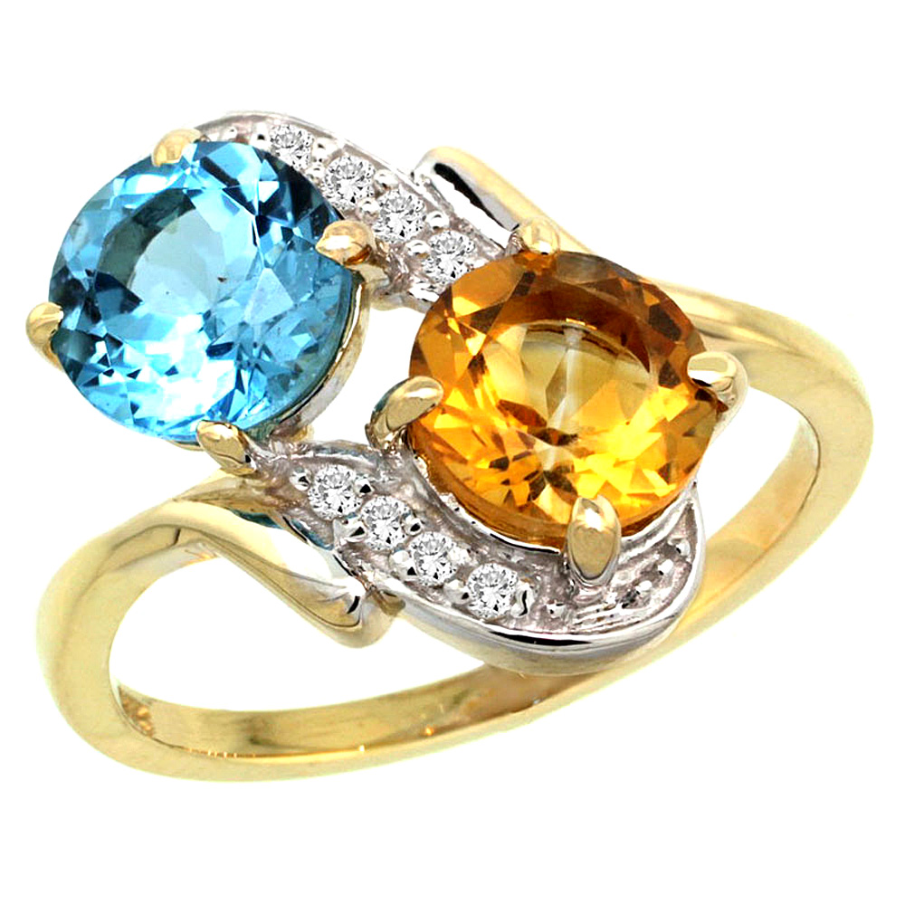 10K Yellow Gold Natural Swiss Blue Topaz & Citrine Mother's Ring Round 7mm Diamond Accents, 3 4 inch wide, sizes 5 10 by WorldJewels