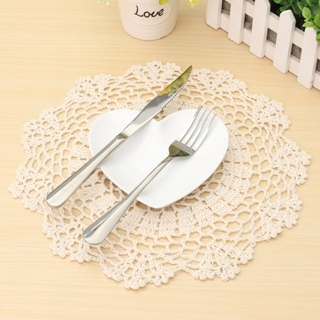 Martha Stewart Doily Lace - Meigar 12 inch Round Handmade Cotton Crochet Doilies,Ecru Round Crocheted Lace Cloth Fabric Doilies Placemats Table Mat Doily