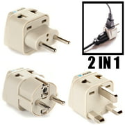 OREI Universal 2 in 1 Plug Adapter 3 Piece Set for Europe - Type C, G and E/F