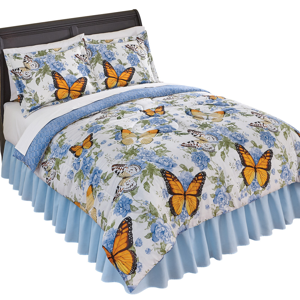 Nadine Reversible Blue Rose Floral Butterfly Comforter Set, King, Blue