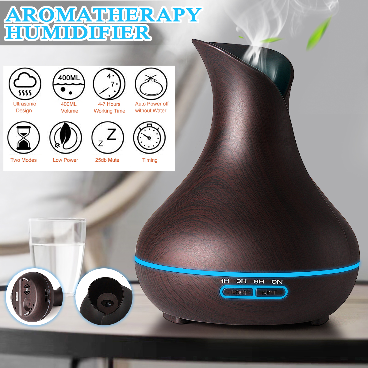 Aroma Diffuser for Essential Oil 13.5 oz (400ml) - Air Humidifier Quiet Ultrasonic Technology 7 LED Light Settings For A Relaxing Atmosphere Improved Sleeping And Breathing Skin Li