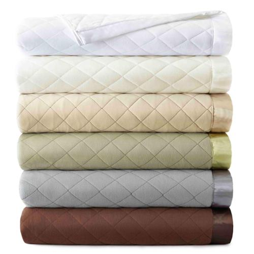 Micro Flannel Quilted Blankets Full/Queen - White