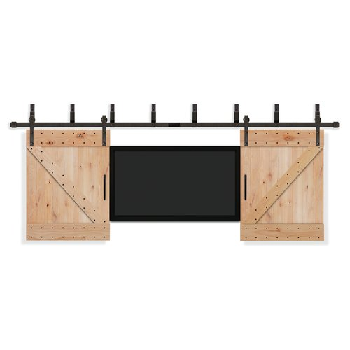 Creative Entryways Paneled Wood Unfinished Rustic Knotty Alder Barn Door with Installation Hardware Kit