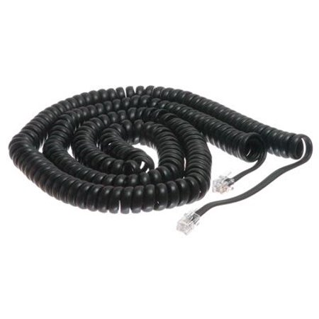 25 Foot Length Coil (ECore Cables Black Coiled Telephone Handset Cord - 25 Foot Long Length - 4 Inch Flat Leader EC15-701-025 FBK)