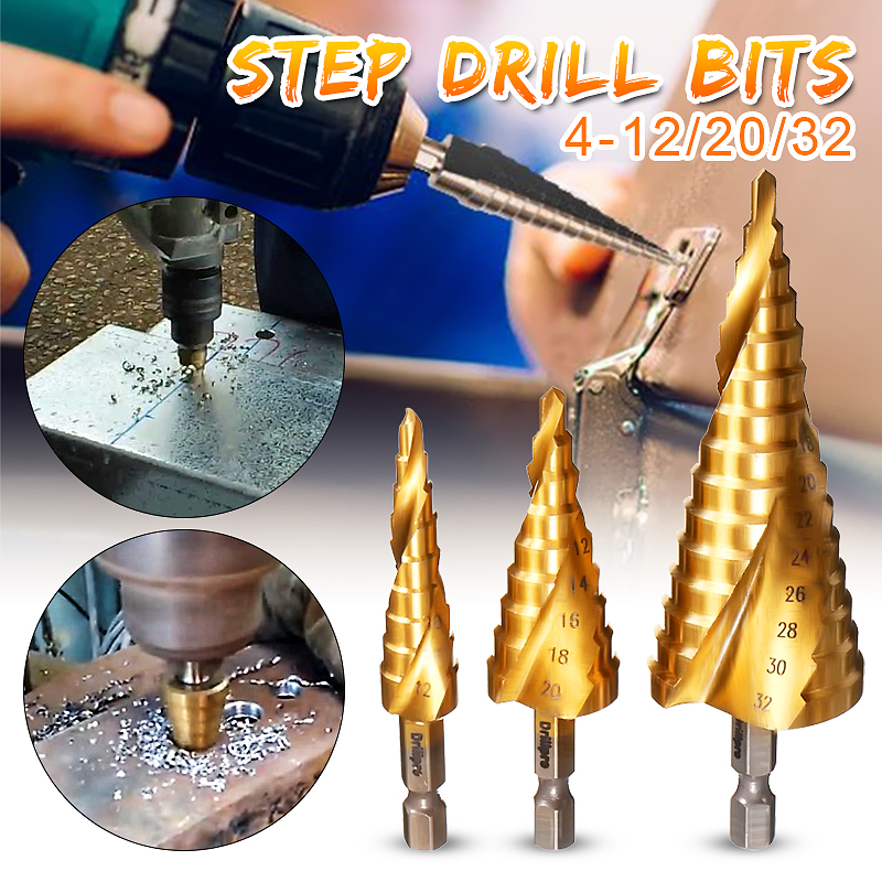 3Pcs HSS Spiral Grooved Step Drill Bits Cut Tool Set 4mm to 12mm/20mm/32mm