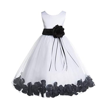 Ekidsbridal Ivory Floral Rose Petals Tulle Flower Girl Dress Wedding Tulle Dresses Pageant Dresses Ball Gown Special Occasions Dresses Easter Summer Dresses Holiday Dresses Toddler Girl Dresses 007 (Tulle Ivory Flower Girl Dresses)