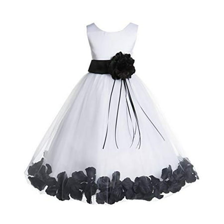 Ekidsbridal Ivory Floral Rose Petals Tulle Flower Girl Dress Wedding Tulle Dresses Pageant Dresses Ball Gown Special Occasions Dresses Easter Summer Dresses Holiday Dresses Toddler Girl Dresses 007