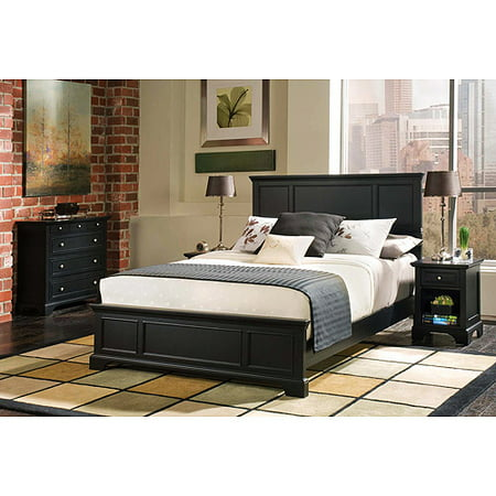 Bedford 3-Piece Bedroom Set - Queen Headboard, Nightstand and Chest, Ebony