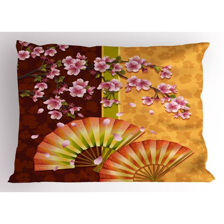 Floral Pillow Sham Sakura Blooms with Japanese Hand Fan Figures Authentic Asian Design, Decorative Standard Size Printed Pillowcase, 26 X 20 Inches, Marigold Baby Pink Burgundy, by Ambesonne - Asian Fan