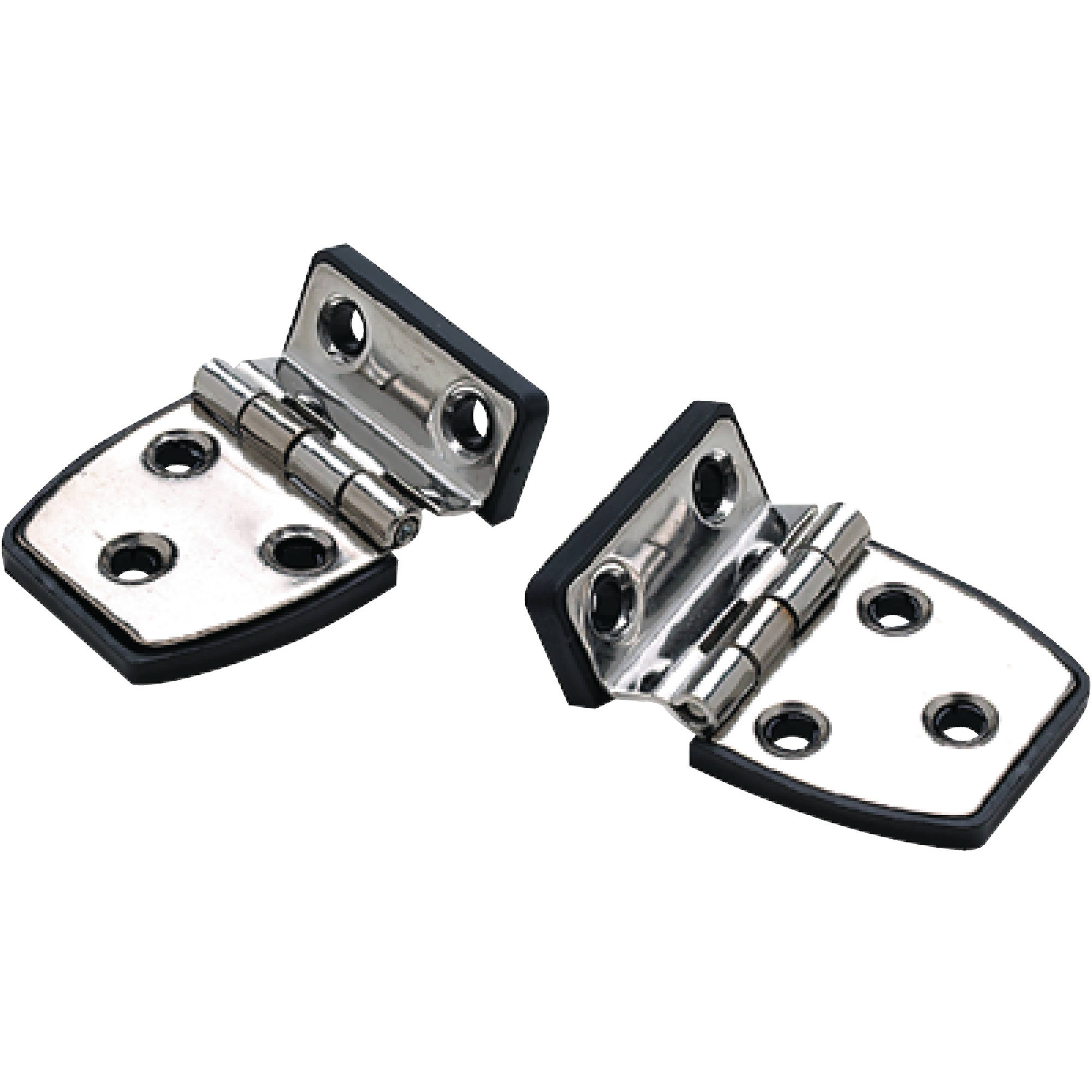 """SeaChoice 50-34471 (2) 2-1/4"""" x 1-1/2"""" Polished Stainless Steel Offset Short Side Hinges with Black Nylon Base Plate"""