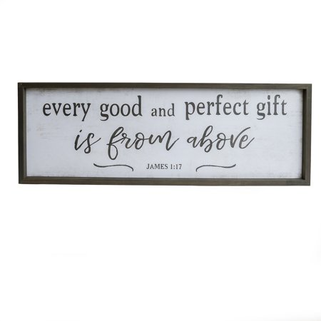 Every Good and Perfect Gift Bible Verse Rustic Wood Framed Wall Art Décor, 12x36 ()