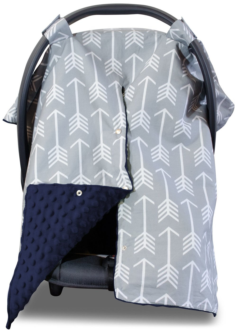 Navy and gray elephant print canopy infant car seat cover//Graco/&custom size
