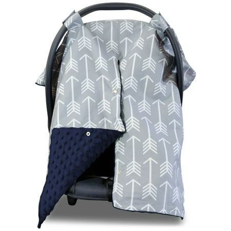 Kids N' Such 2 in 1 Car Seat Canopy Cover with Peekaboo Opening™ - Large Arrow Carseat Cover with Navy Dot Minky | Best for Baby Girls and Boys | Doubles as a Nursing Cover for Breastfeeding ()