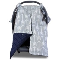 Kids N' Such 2 in 1 Car Seat Canopy Cover with Peekaboo Opening™ - Large Arrow Carseat Cover with Navy Dot Minky | Best for Baby Girls and Boys | Doubles as a Nursing Cover for Breastfeeding
