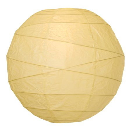 Premium Paper Lantern, Clip-On Lamp Shade (18-Inch, Free-Style Ribbed, Ivory) - Rice Paper Chinese/Japanese Hanging Decoration - For Home Decor, Parties, and Weddings