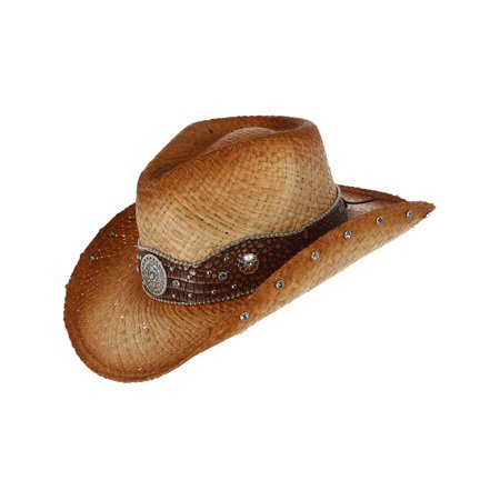 Distressed Woven Raffia Western Hat with Vegan Leather Hatband,  Tan (Tan Raffia)