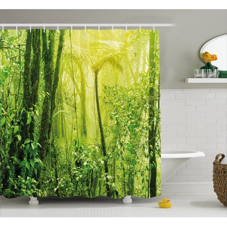 Green Decor Shower Curtain Tropical Amazon Wild Nature Forest With Branches And Tree Art Fabric Bathroom