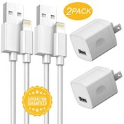 3-Meter Charging Cables with Power Adapter Cube 2-Pack Cords with 2-Pack USB Wall Charger Block Plug Compatible iPhone X/8/8 Plus/7/7 Plus/6/6S/6 Plus/5S/SE/Mini/Air/Pro Case