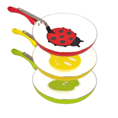 Colored Ceramic Coated Non-stick Aluminum Fry Pan with Matching Spatula Red/White/Lady Bug Design