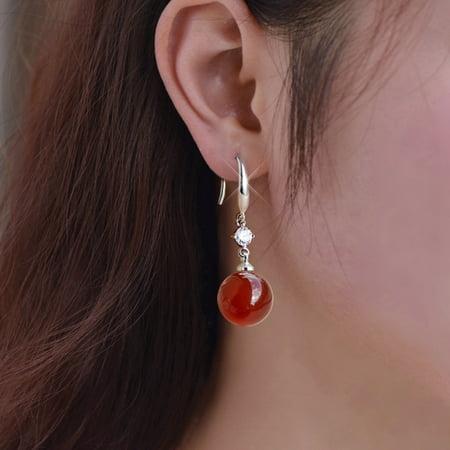 KABOER Ethnic Wind Zircon Dangle Earrings For Women Vintage Natural Green Red Round Stone Earrings Moonstone Earrings Ear Jewelry