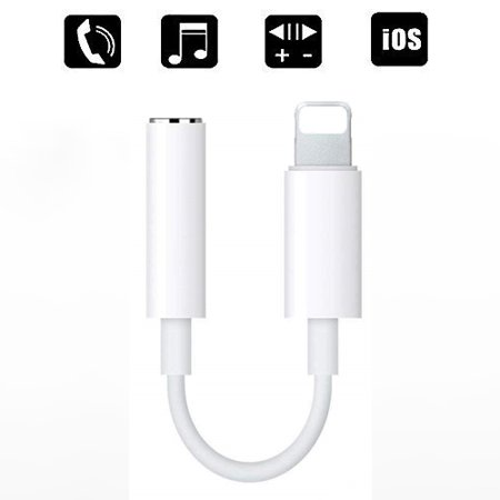 iphone 8 Lightning to 3.5 mm Headphone Jack Dongle Adapter, Compatible with iPhone XS/XR/X/8/8 Plus/7/7 Plus/ipad/iPod, Support iOS 11/12, I5996