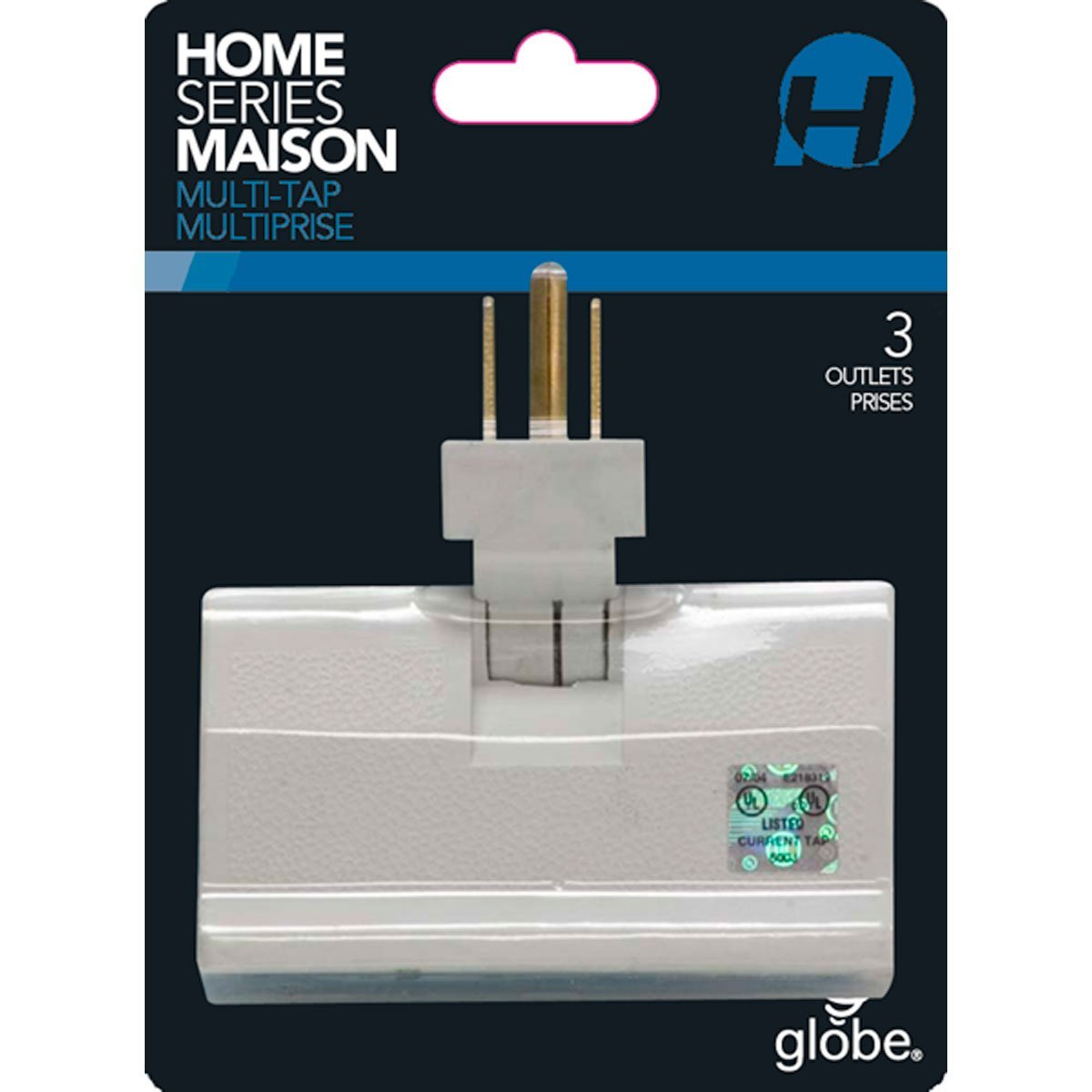 White Finish, 3 Electrical Outlet Lateral Swivel Grounded Wall Adapter Tap