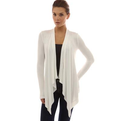 f0b6a35fce 2019 New Women's Fashion Long Sleeve Open Front Irregular Hem Tops Cardigan