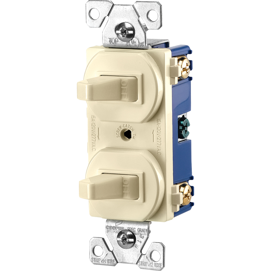 Cooper 271A Almond Combination Two Single Pole Duplex Toggle Switches