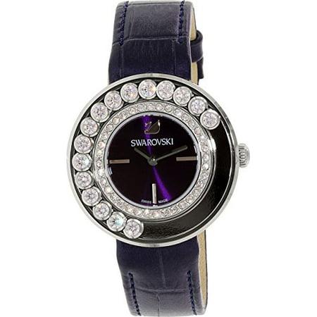 Women's Lovely Crystals 5027205 Black Leather Swiss Quartz