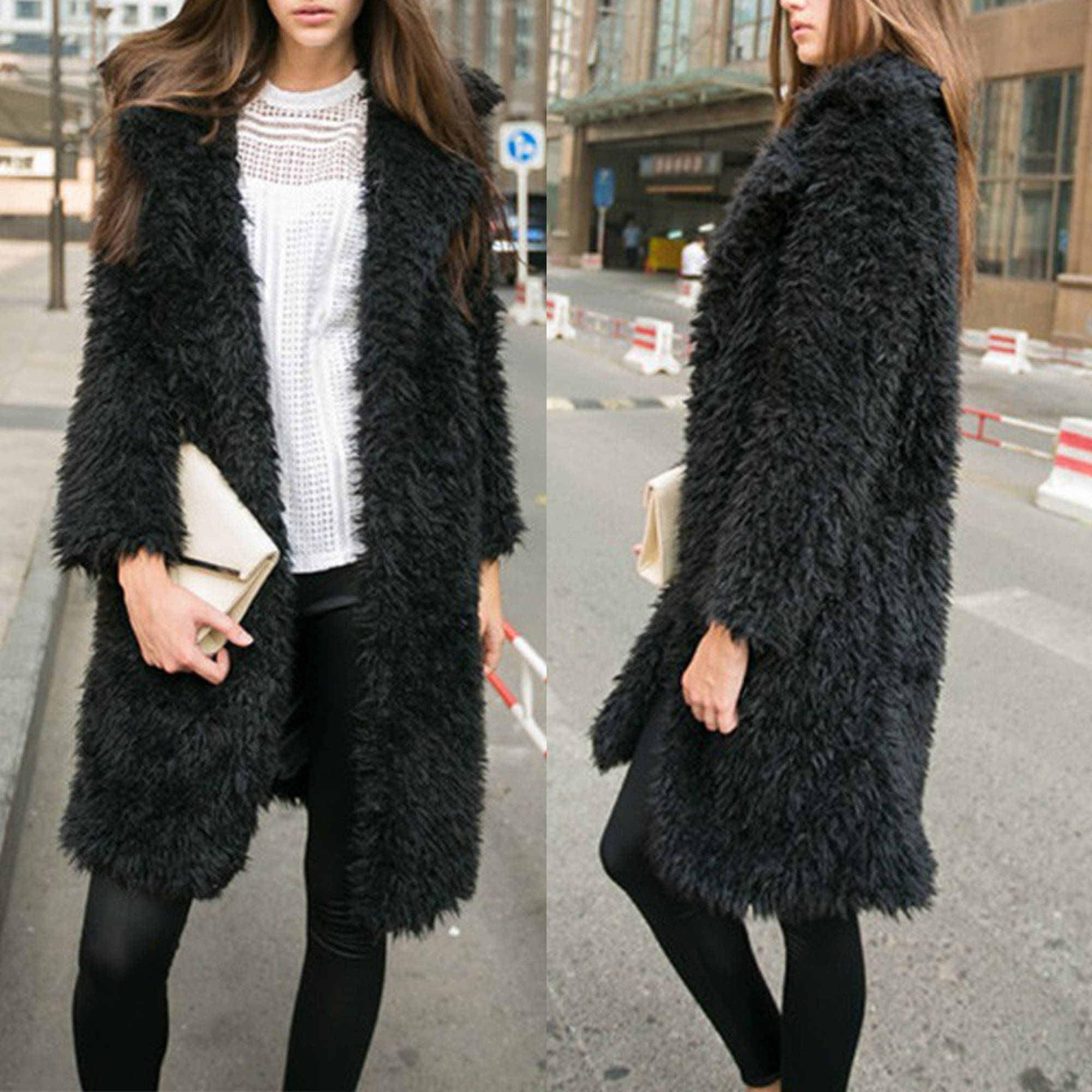 Womens Fuzzy Faux Lamb Fur Coat Long Jacket Notched Lapel Mid Long Coat by Dosmart