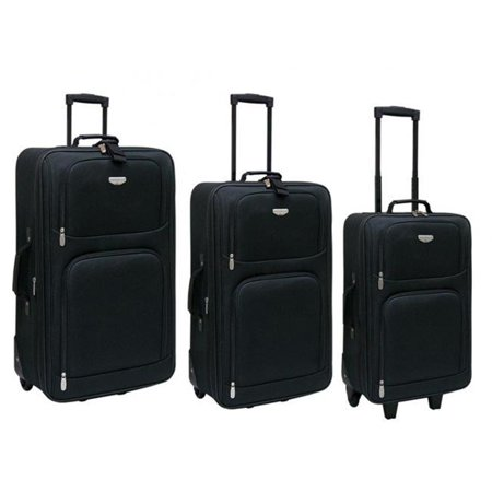 Luggage  Genova Collection- 3 Piece Expandable Travelers Set in Black