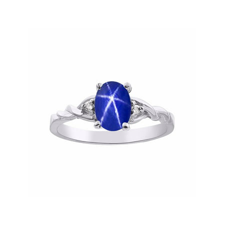 Diamond & Blue Star Sapphire Ring Set In Sterling Silver Solitaire (Stars Around Sapphire)