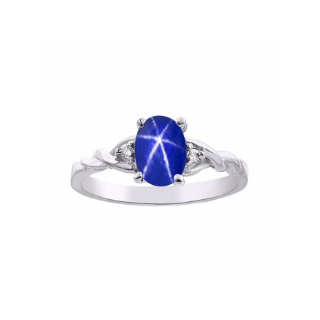 Mm Blue Star Sapphire - Diamond & Blue Star Sapphire Ring Set In Sterling Silver Solitaire DSL-LR5987LSW