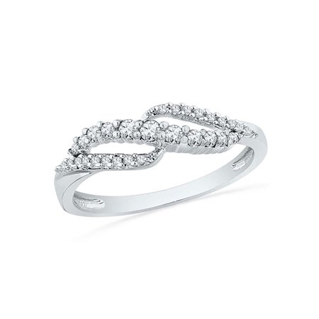 10kt White Gold Womens Round Diamond Crossover Band Ring 1/4 Cttw - image 1 de 1