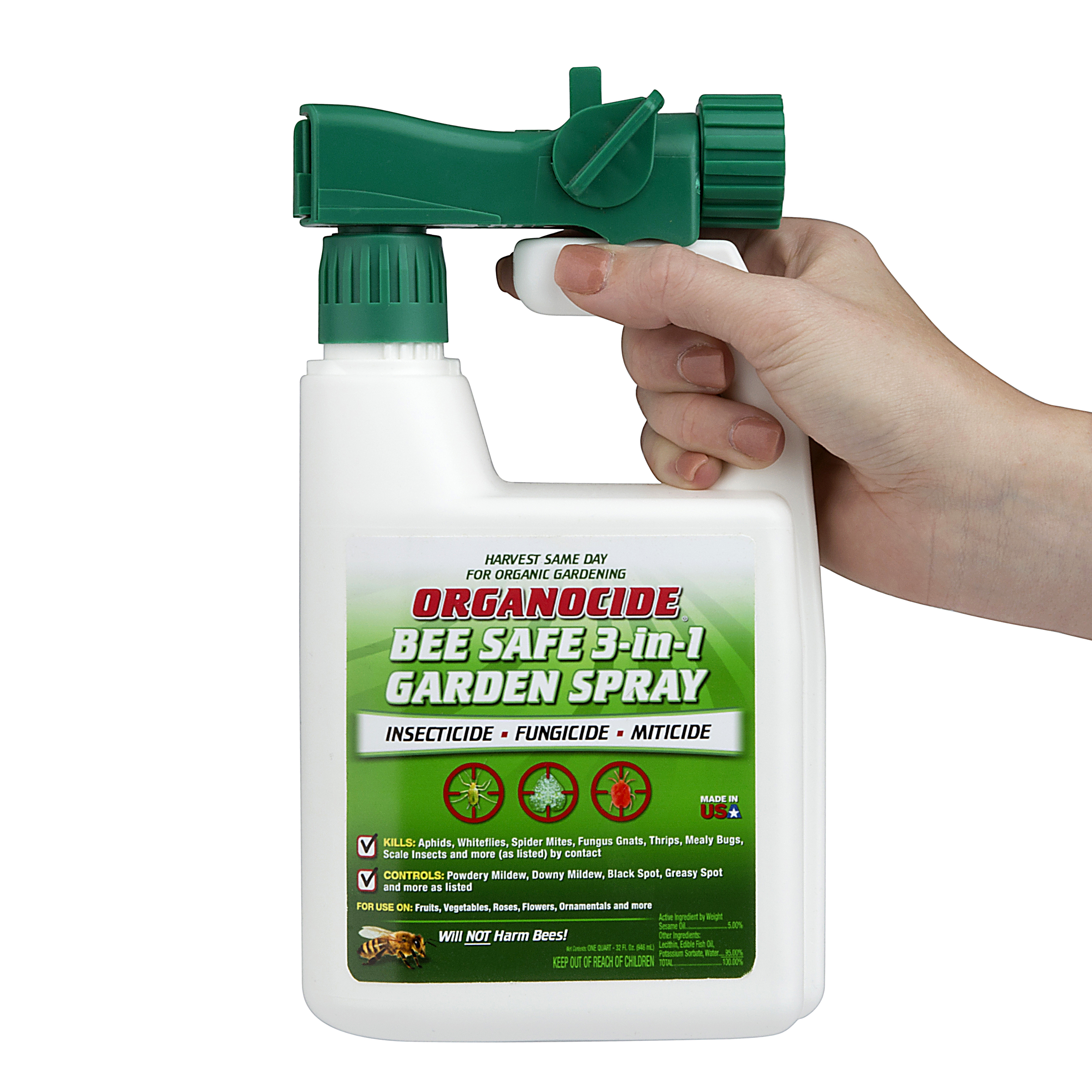 Organocide 3 In 1 Organic Pest Control Garden Spray Concentrate, 1 Qt