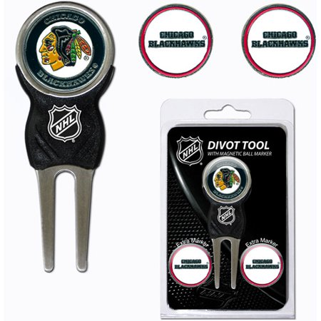 Team Golf NHL Chicago Blackhawks Divot Tool Pack With 3 Golf Ball Markers