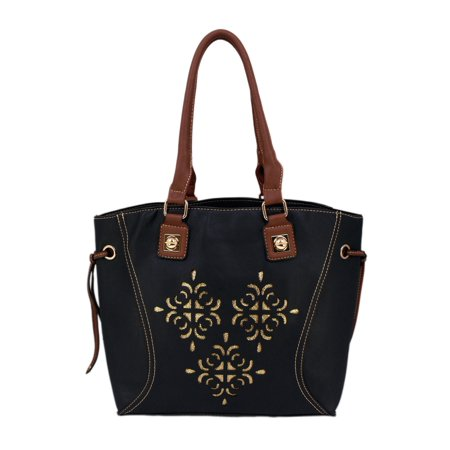 Premium Soft Black Glitter Floral Satchel Top Handle Tote Bag Handbag