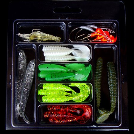 Mallroom 22Pcs Soft Worm Lures Baits Jigging Tackle Set Fishing Gear