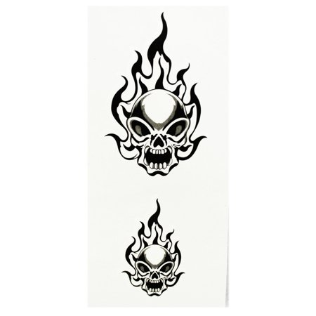 Twin Yelling Blazing Skulls Temporary Tribal Tattoos - Skull Face Tattoo Halloween