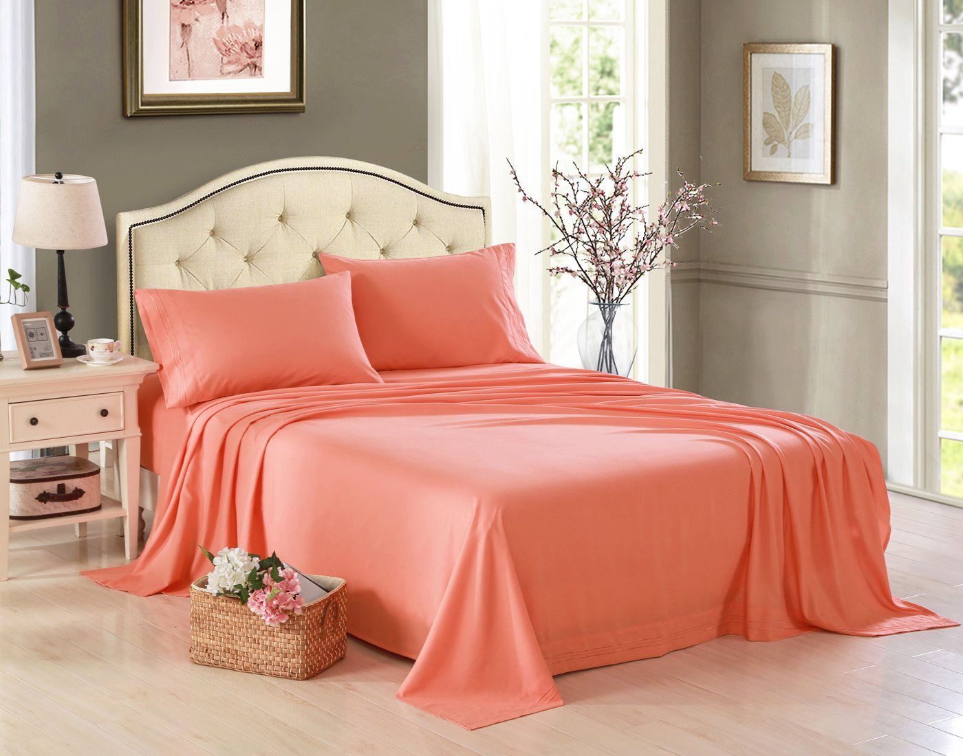 Exceptional Honeymoon 1800 Brushed Microfiber Embroidered Bed Sheet Set, Ultra Soft,  Twin   Gray   Walmart.com
